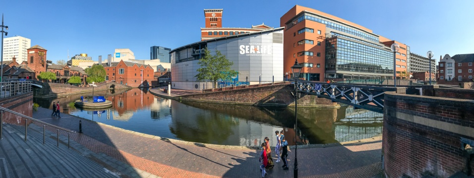 Approaching Brindleyplace from our apartments